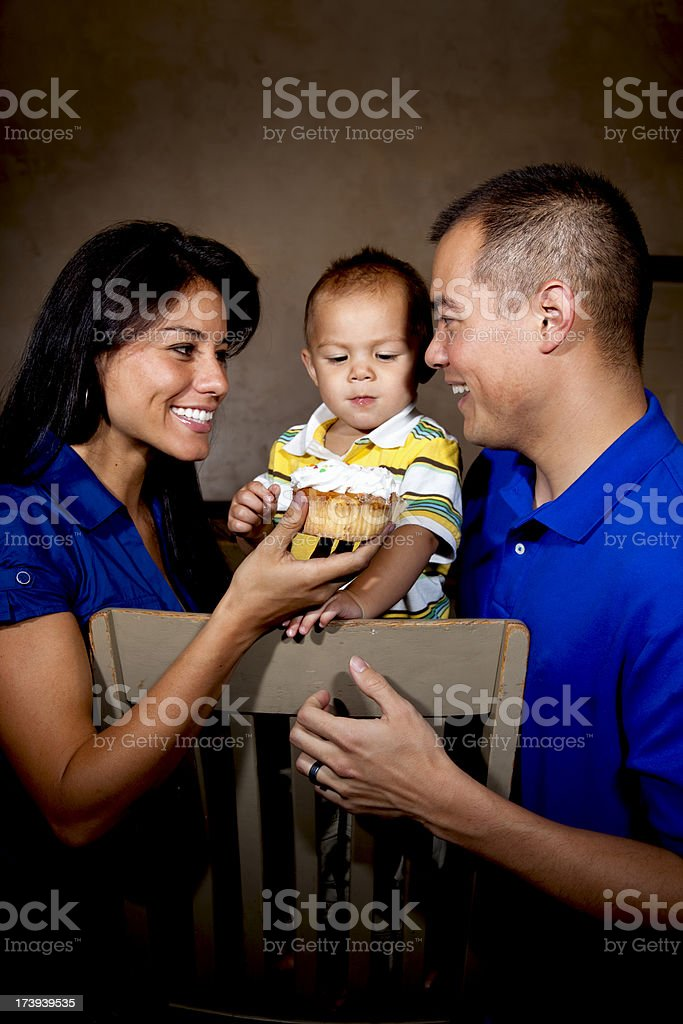 Hawaiian Family on Childs Birthday stock photo