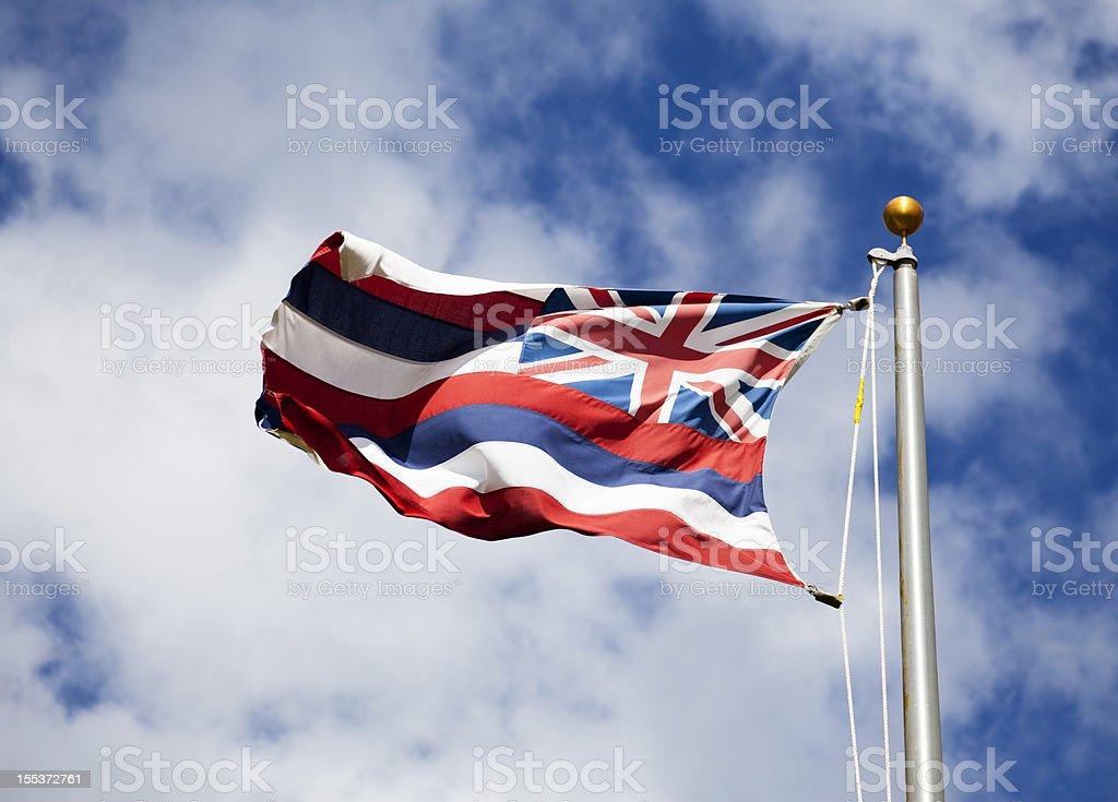 Hawaiian bandeira voando no vento - foto de acervo