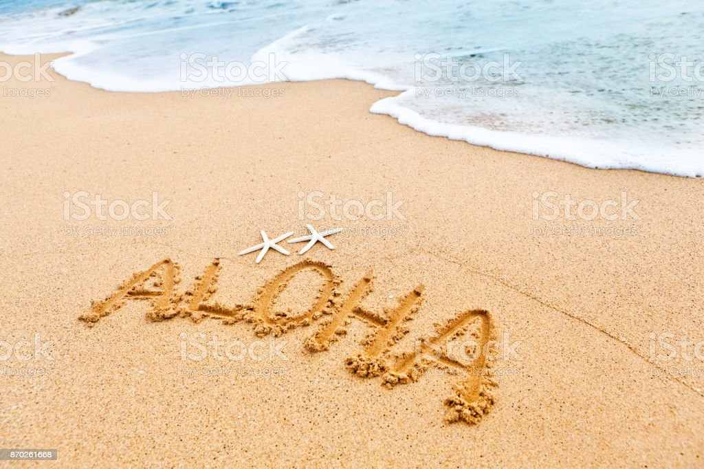 Hawaiian greeting aloha written on the sandy beach of hawaii stock hawaiian greeting aloha written on the sandy beach of hawaii royalty free stock photo m4hsunfo