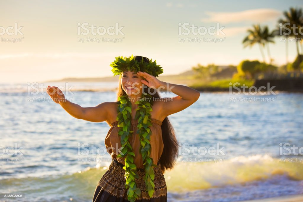 Hawaiian Hula Dancer Dancing on the Beach of Kauai Hawaii stock photo
