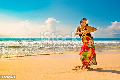 A beautiful Hawaiian Hula dancer dancing on the beach of the tropical Hawaiian islands. She is wearing a traditional Hula dance dress with a lei and a head dress. Photographed in horizontal format with copy space in Kauai, Hawaii.