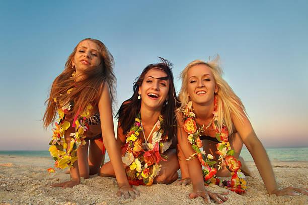hawaiian Bailarina de Hula niñas - foto de stock
