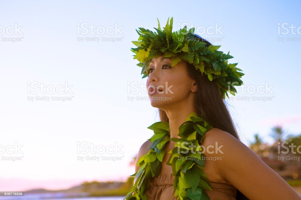 Hawaiian Hula Dancer Looking Out to Sea stock photo