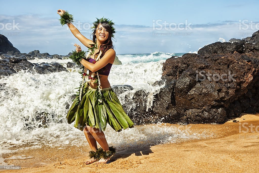 Hawaiian Hula Dancer on Beach stock photo