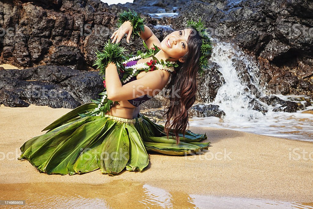 Hawaiian Hula Dancer on Beach royalty-free stock photo