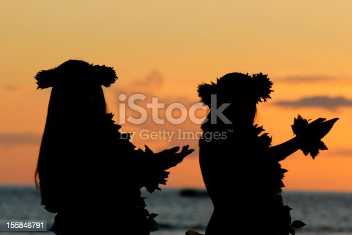 Hawaiian girls dancing the hula at sunset, Maui