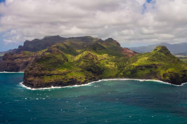 Hawaiian Island view from ariplane stock photo