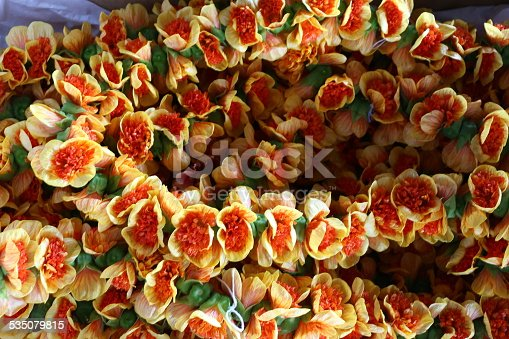 orange flowers Hawaiian lei necklace