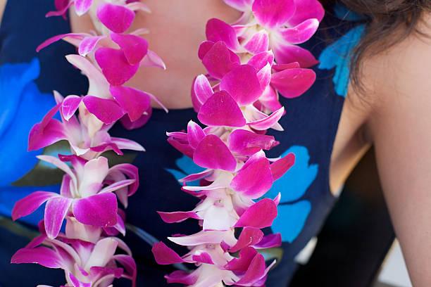 Hawaiian Lei on woman's neck stock photo