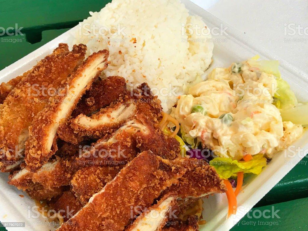 Hawaiianische Spezialität Platte Mittagessen Mit Katsu Eintopf ...