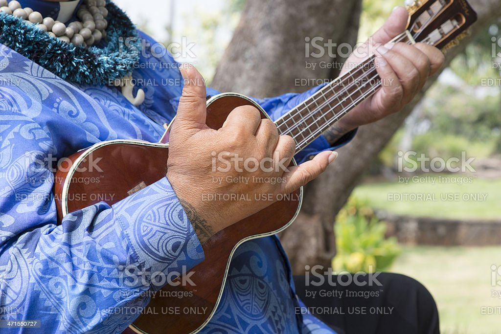 Hawaiian Man Gives Hang Loose Sign, Ukulele, Music stock photo