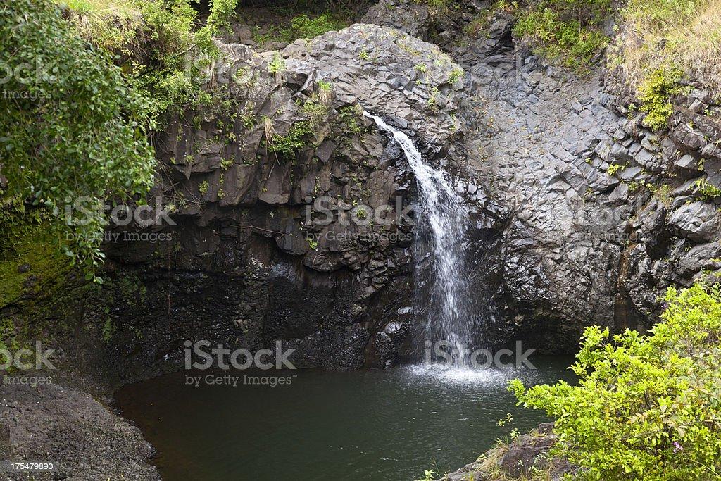 Hawaiian Rainforest Waterfall, Maui royalty-free stock photo