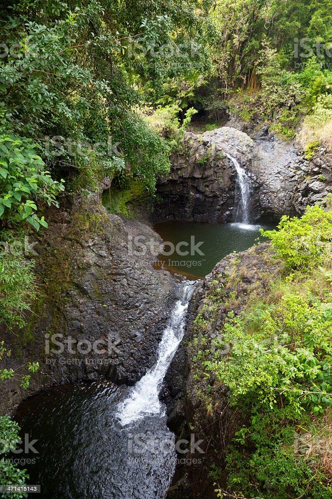 Hawaiian Rainforest Waterfalls, Maui stock photo