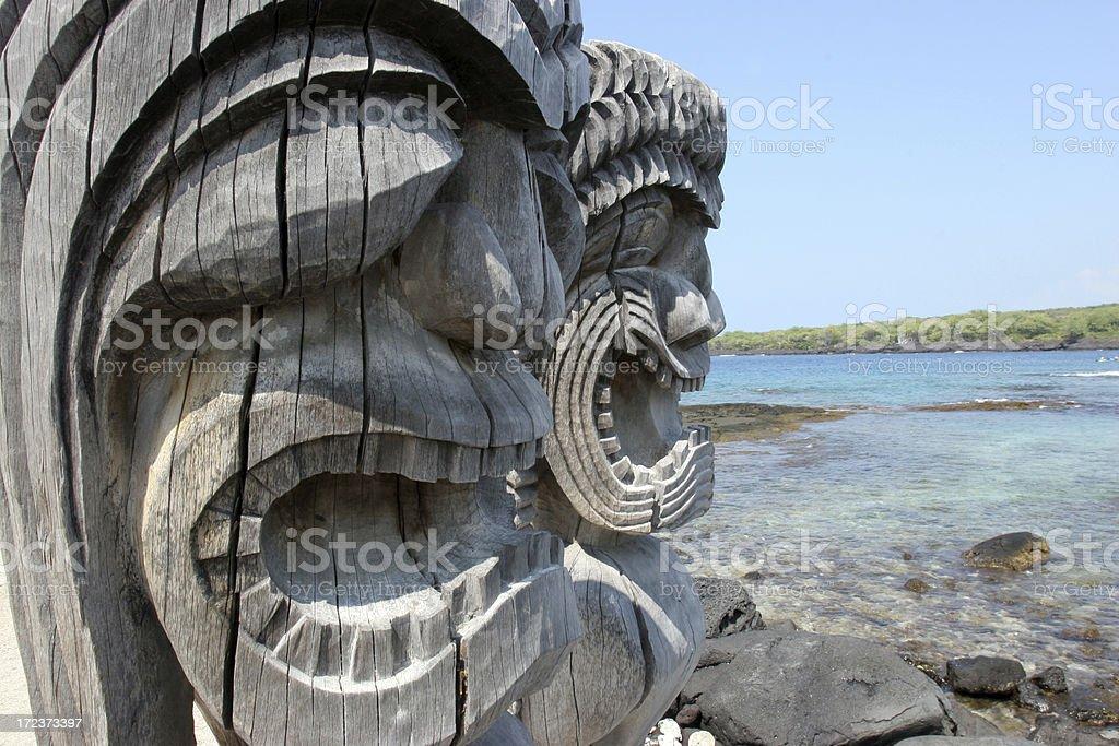 Hawaiian Sacred Carved Idols stock photo