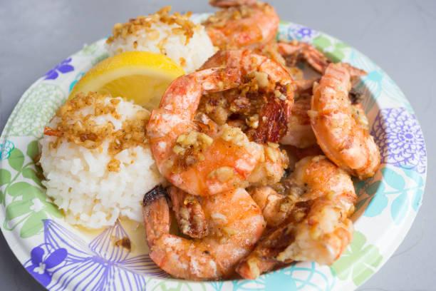 Hawaiian Shrimp Plate Lunch stock photo