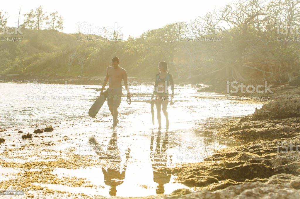 Hawaiian plongée en apnée photo libre de droits