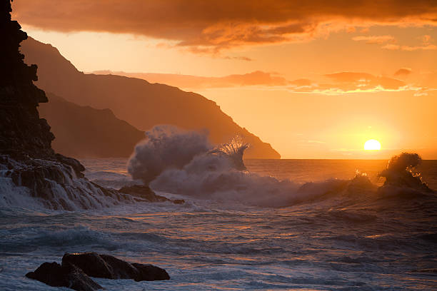 Hawaiian sunset at Ke'e beach. stock photo