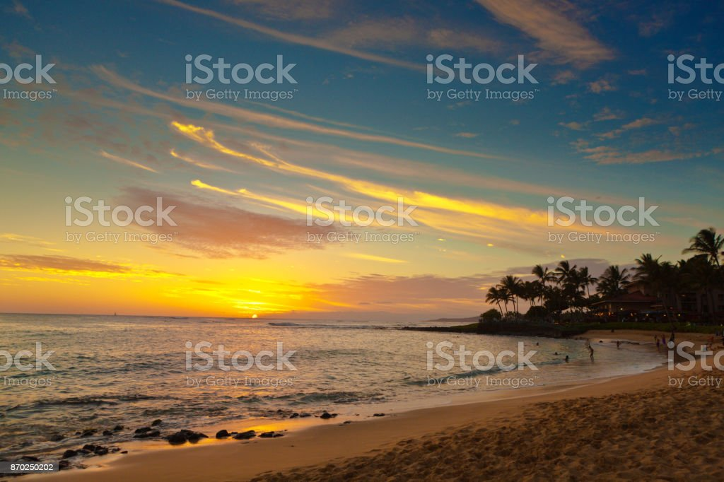 Hawaiian Sunset at Poipu Beach Kauai stock photo