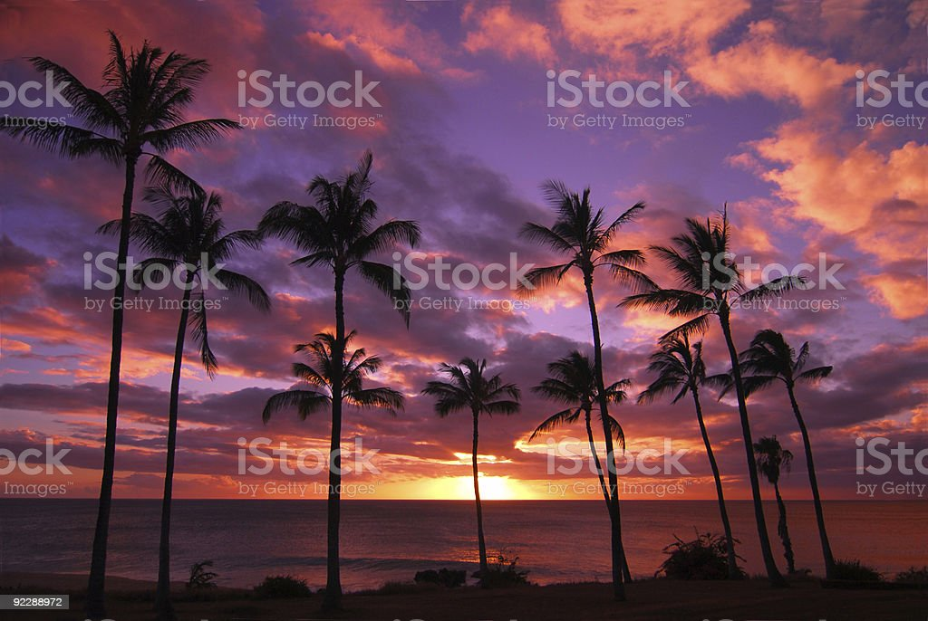 Hawaiian Sunset Molokai Hawaii stock photo