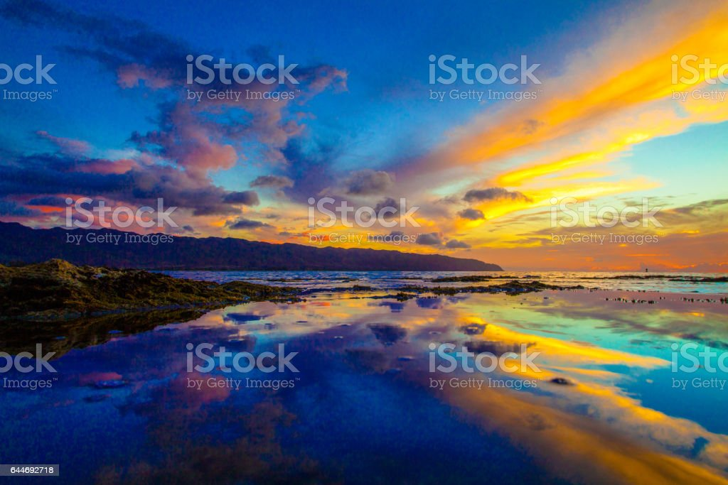 Hawaiian Sunset on the North Shore of Oahu stock photo