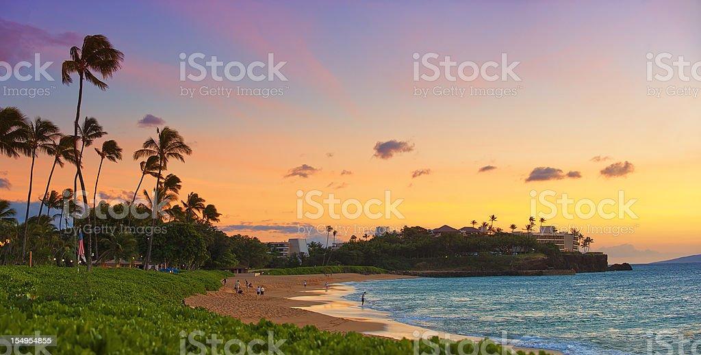 Hawaiian Sunset Panorama stock photo