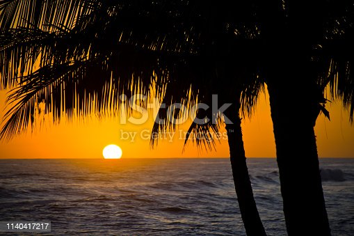 Colorful sunset at the south side of the island , the Poipu Beach of Kauai in Hawaii, USA.