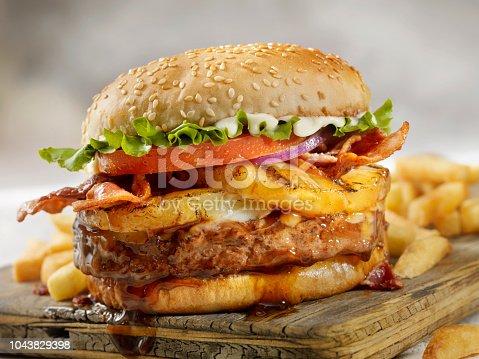 Hawaiian Teriyaki, Pineapple and Bacon Burger with Fries