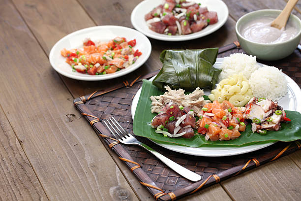 hawaiian traditional plate lunch - pacific islands stock pictures, royalty-free photos & images