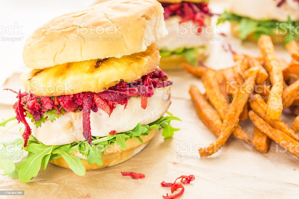 Hawaiian Tuna Burger royalty-free stock photo