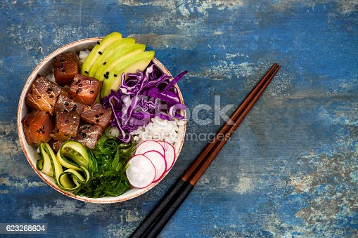istock Hawaiian tuna poke bowl with seaweed, avocado, red cabbage slaw 623268604