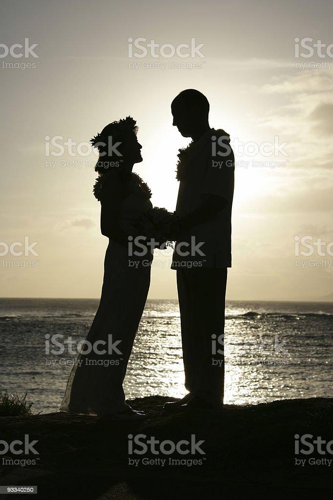 Hawaiian Wedding Silhouette royalty-free stock photo