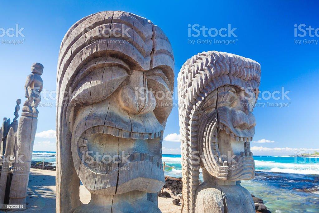 Hawaiian wood carving stock photo