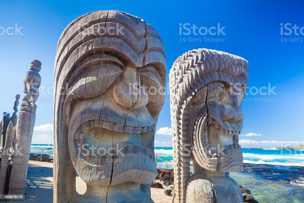 Hawaiian wood carving stock photo