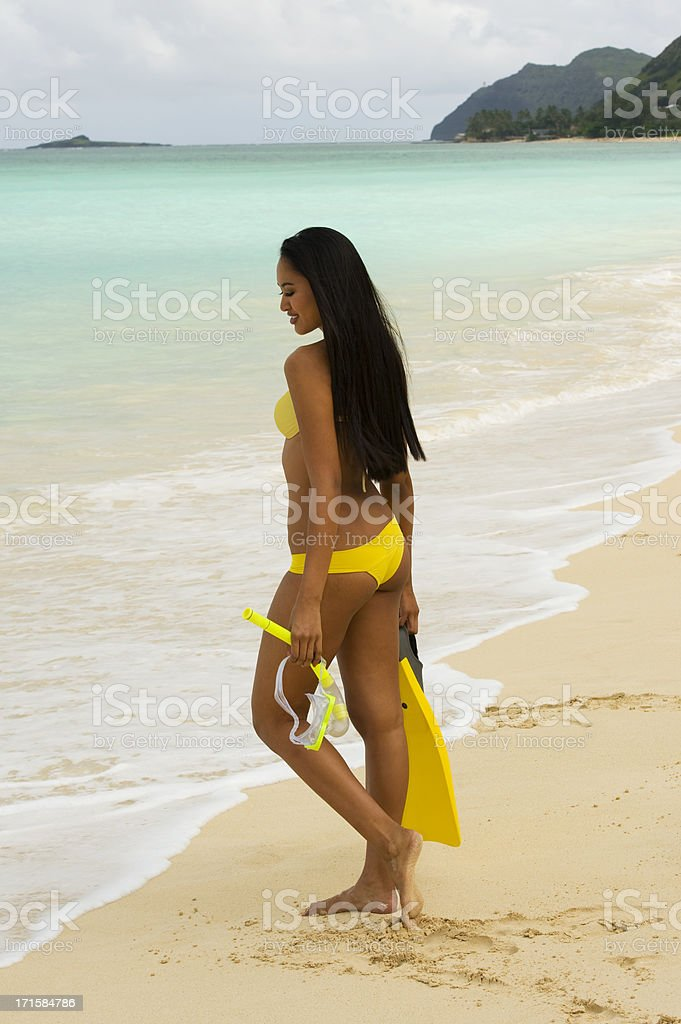 Hawaiin Girl going snorkelling royalty-free stock photo