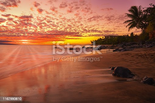 Sunset in on a Hawaiian beach
