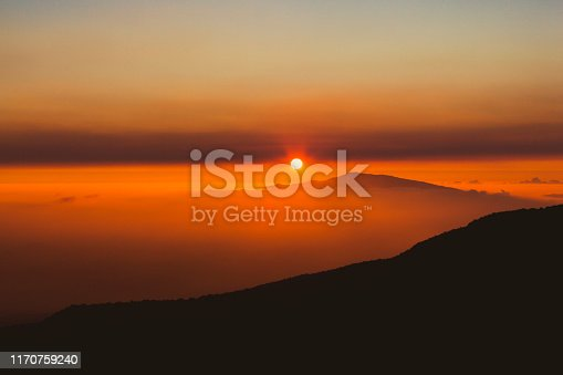 sunset view from mauna kea to haleakala volcano, big island to maui, hawaii islands, usa.