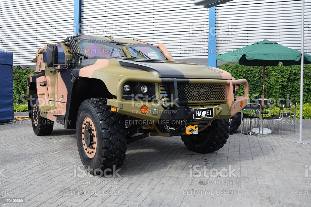 Hawkei on the defence industry show stock photo