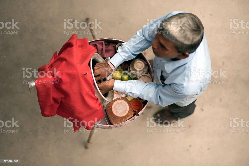 Hawker selling street food. stock photo