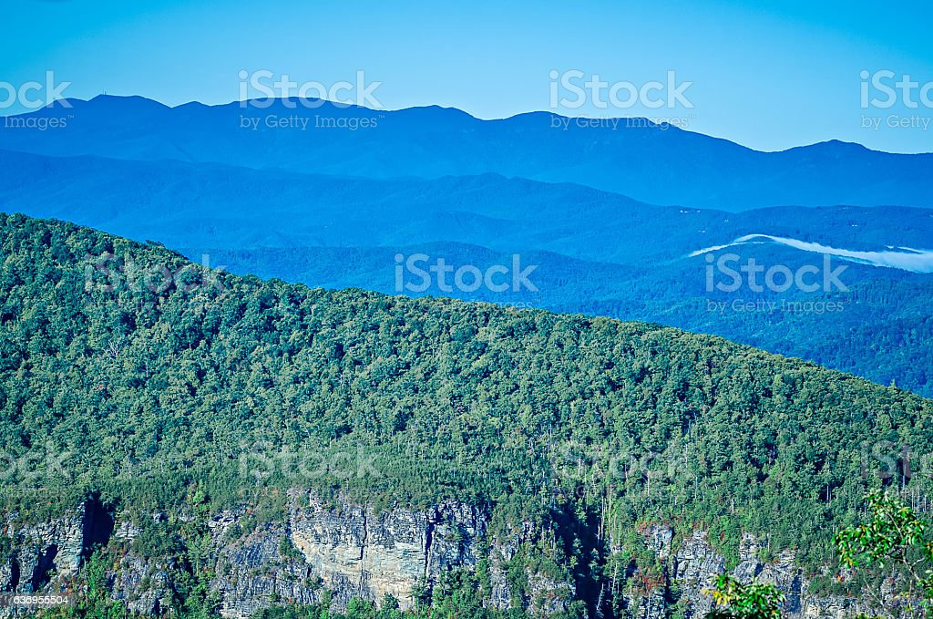 Hawksbill Mountain at Linville gorge with Table Rock Mountain la stock photo