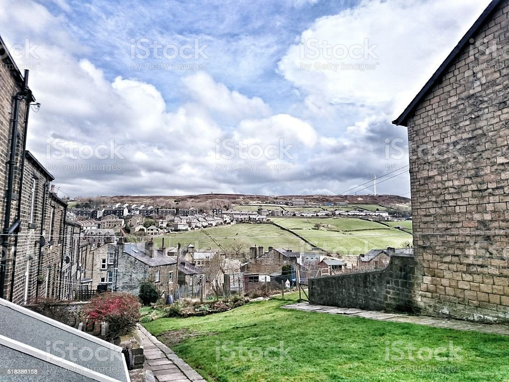 Haworth and Hills West Yorkshire Moors stock photo