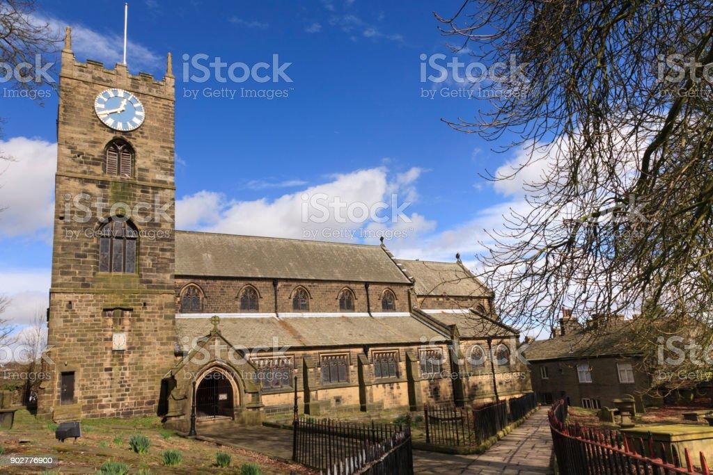Haworth Church North Yorkshire UK stock photo