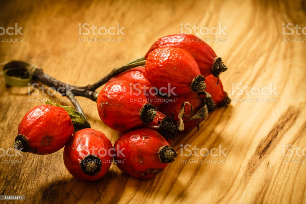 Hawthorn on wooden table background stock photo