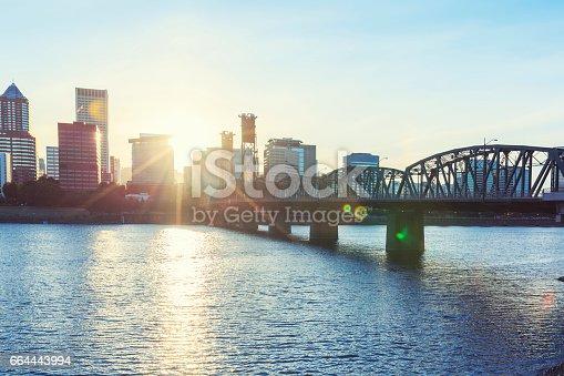 Hawthorne Bridge in Portland during sunset