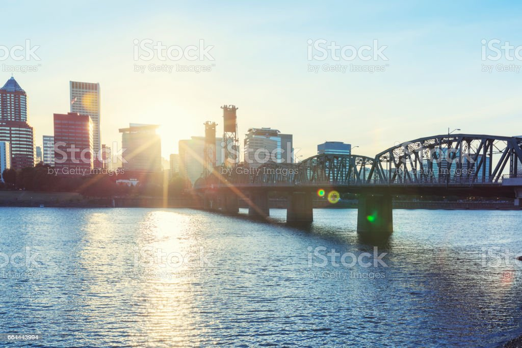 Hawthorne Bridge in Portland during sunset stock photo