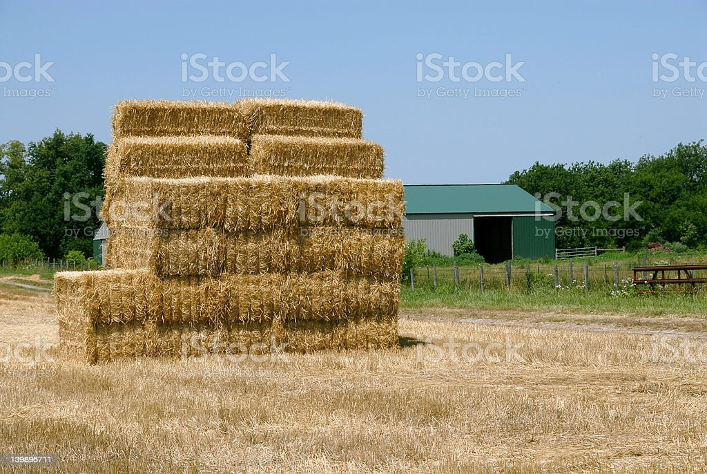 Hay Bale Stack stock photo
