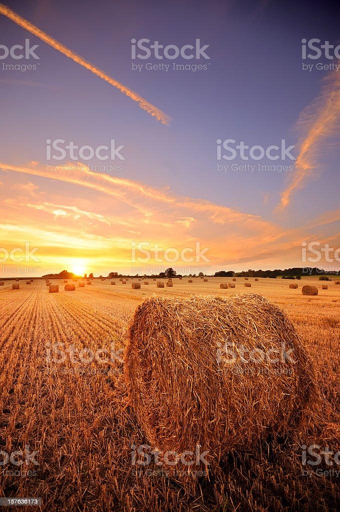 Hay Bale Sunset royalty-free stock photo