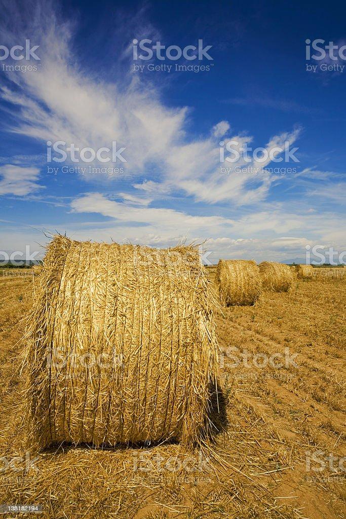 Hay Bales and sky royalty-free stock photo