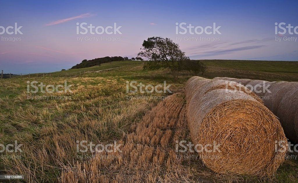 Hay bales in landscape late Summer sunset royalty-free stock photo