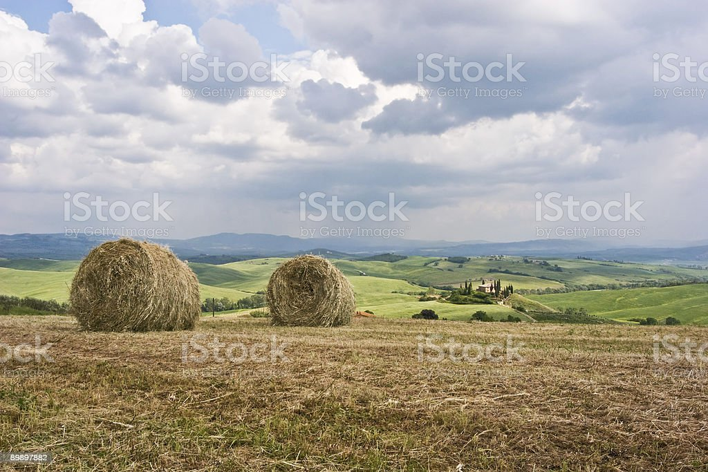 Hay Bales on Tuscan Landscape royalty free stockfoto
