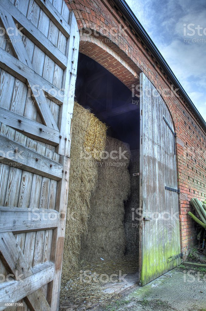 Hay barn doors, England stock photo